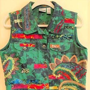 Chico's Multicolor Embroidered Vest Size 1